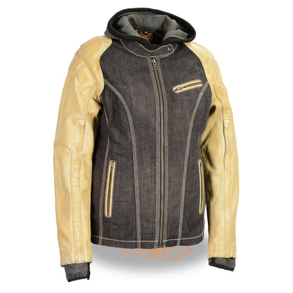 Milwaukee Leather MDL2005 Women's Two Tone Black and Beige Denim and Leather Scuba Jacket with Full Hoodie Jacket Liner