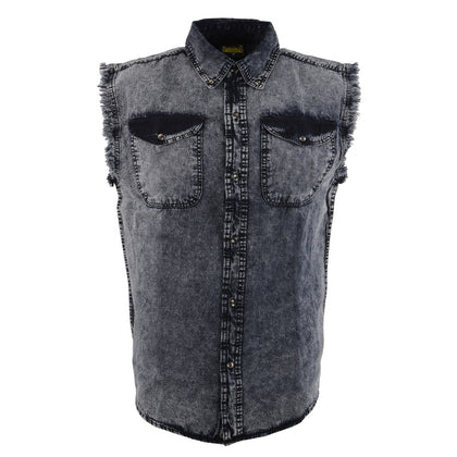 Biker Clothing Co. MDM11678.119 Men's Grey and Black Sleeveless Shirt