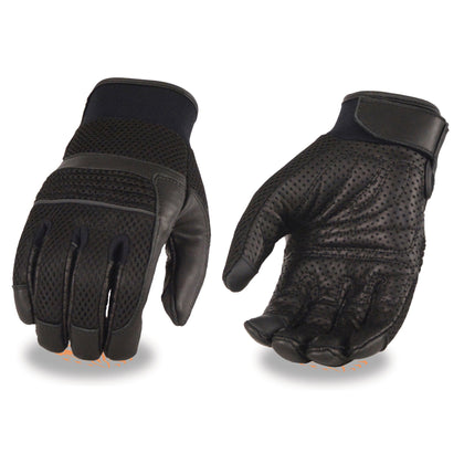 Milwaukee Leather MG7503 Men's 'Touch Screen Fingers' Black Leather and Mesh Racing Gloves
