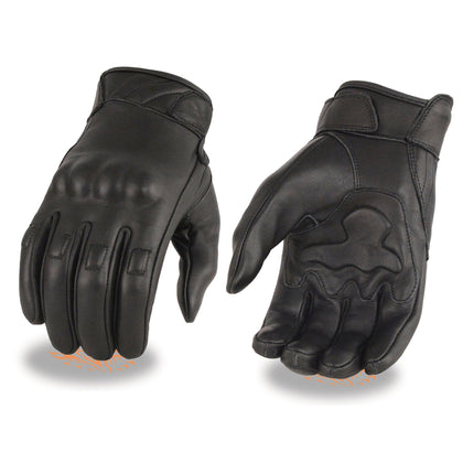 Milwaukee Leather MG7521 Men's Black Leather Gloves with Gel Palm and Knuckle Protectors