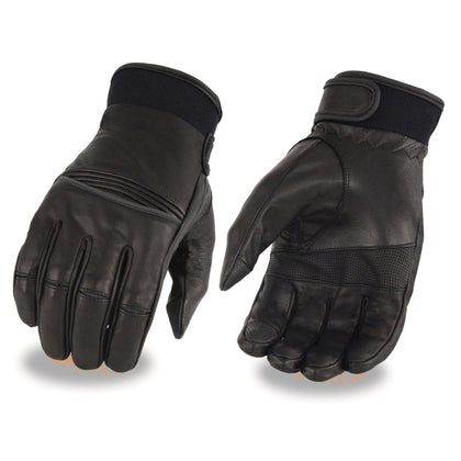 Milwaukee Leather MG7525 Men's 'i-Touch' Black Leather Riding Gloves with Stretch Knuckles