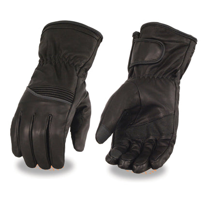 Milwaukee Leather MG7551 Men's 'Touch Screen Fingers' Waterproof Black Leather Gauntlet Gloves with Flex Knuckles and Reflective Trim
