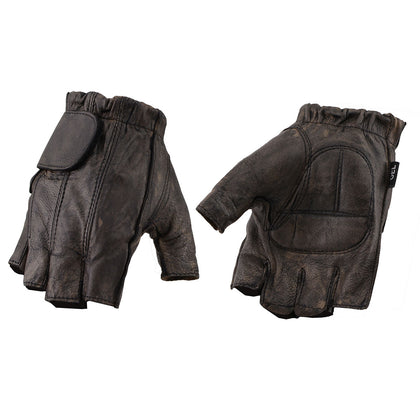 Milwaukee Leather MG7561 Men's Fingerless Distressed Brown Gloves with Gel Palm