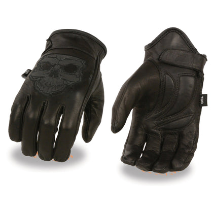 Milwaukee Leather MG7570 Mens Reflective Skull Premium Leather Short Wrist Gel Palm Driving Gloves