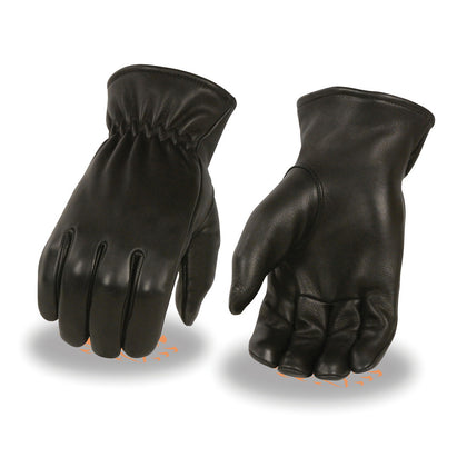 Milwaukee Leather MG7595 Men's Black Unlined Deerskin Gloves with Cinch Wrist