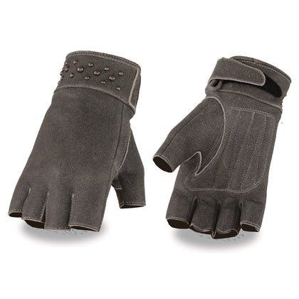 Milwaukee Leather MG7761 Ladies Fingerless Distressed Gray Leather Gloves with Gel Palms
