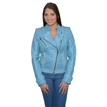 Milwaukee Leather SFL2840 Aqua Women's Asymmetrical Studded Sheepskin Leather Jacket