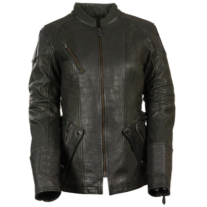 Milwaukee Leather MLL2560 Women's Gator 3/4 Length Embossed Print Black Leather Jacket with Gun Pockets