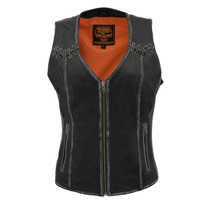Milwaukee Leather MLL4526 Women Distressed Black Leather Vest With Lace