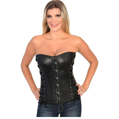 Milwaukee Leather MLL4596 Women's Black Leather Lambskin Side Laced Corset