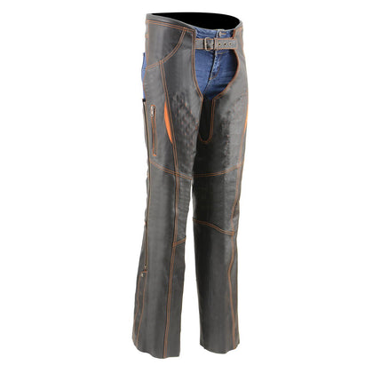 Milwaukee Leather MLL6525 Women 'Laser Cut' Distressed Black and Orange Leather Chaps