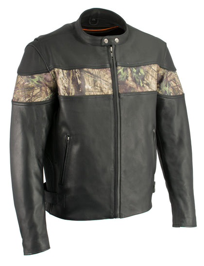 Milwaukee Leather MLM1595 Men's 'Jungle Mossy' Side Stretch Leather Motorcycle Racer Jacket