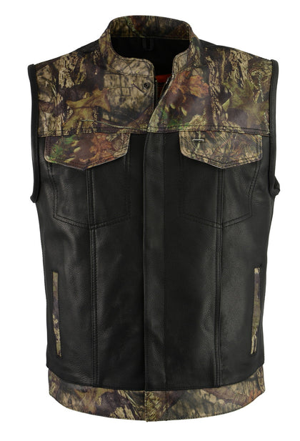 Milwaukee Leather MLM3512 Mossy Oak Camo Men's Snap and Zip Front Club Style Leather Vest