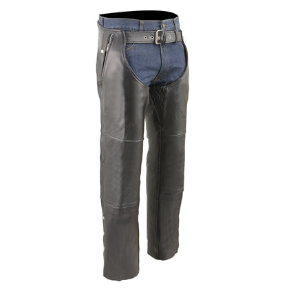 Milwaukee Leather MLM5505 Men's 'Cool-Tec' Black Leather Chaps with Thermal Liner