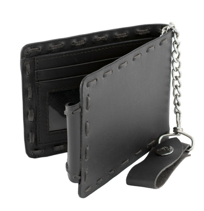 Milwaukee Leather MLW7810 Mens Black Whip Stitch Biker Wallet with Steel Chain