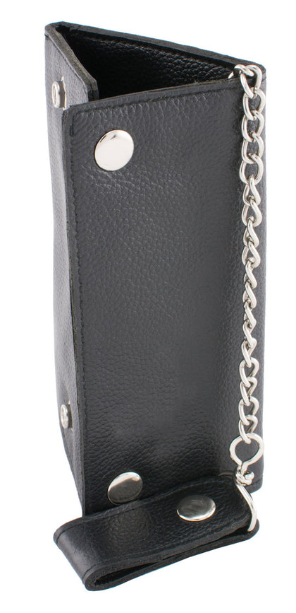 Milwaukee Leather MLW7875 Mens Black Tri Fold Long Wallet with Steel Chain