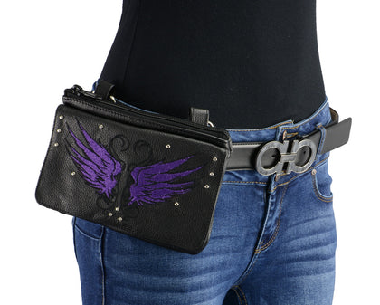 Milwaukee Leather MP8850 Ladies Leather 'Winged' Black and Purple Multi Pocket Belt Bag with Gun Holster