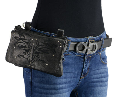 Milwaukee Leather MP8852 Women's Black Leather Multi Pocket Belt Bag with Gun Holster