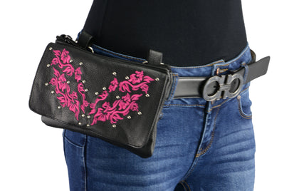 Milwaukee Leather MP8853 Women's 'Flower' Black and Pink Leather Multi Pocket Belt Bag with Gun Holster