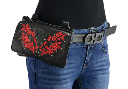 Milwaukee Leather MP8853 Women's 'Flower' Black and Red Leather Multi Pocket Belt Bag with Gun Holster