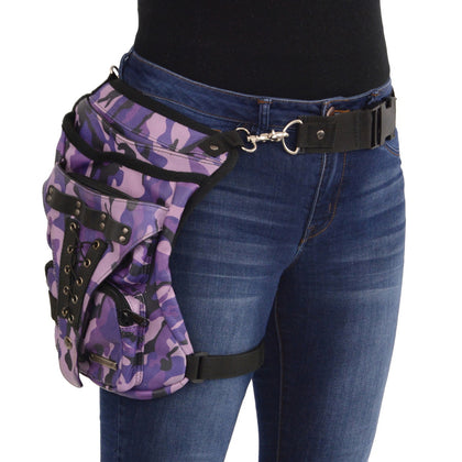 Milwaukee Leather Performance MP8886 Camoflauge Conceal and Carry Black Leather Thigh Bag with Waist Belt