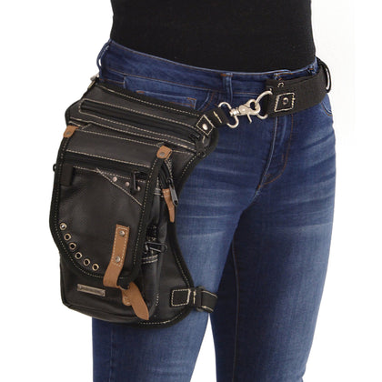 Milwaukee Leather Performance MP8890 Conceal and Carry Black Leather Thigh Bag with  Waist Belt