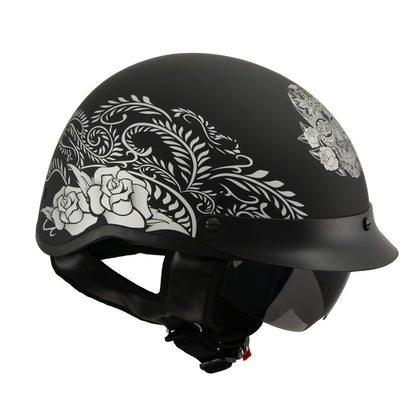 Milwaukee Performance Helmets MPH9725DOT 'Sugar Skull and Rose' Matte Black DOT Helmet with Drop Sun Visor