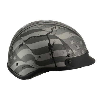 Milwaukee Performance Helmets MPH9871N Novelty 'Vintage Grey Stars and Stripes' Silver Grey Half Helmet