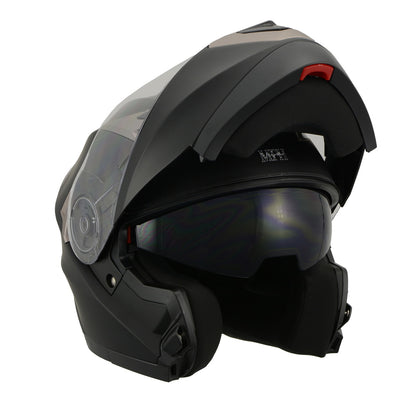 Milwaukee Performance Helmets MPH9804DOT Matte Black Modular Racing Helmet with Drop Down Tinted Visor