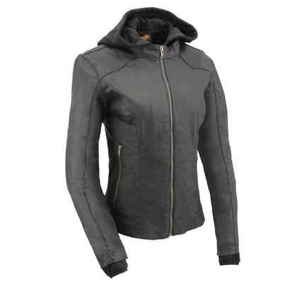 Milwaukee Leather Performance MPL2745 Women Black Zipper Front Jacket With Full Sleeve Removable Hoodie
