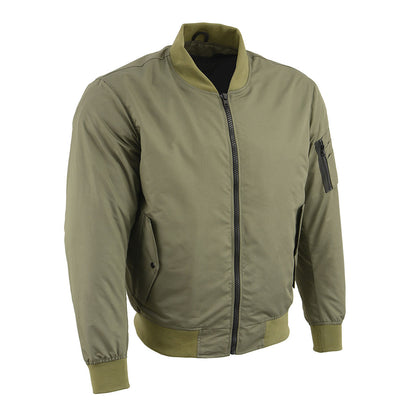 Milwaukee Leather MPM1731 Men's Green Textile Aviator Bomber Jacket with Armor Protection