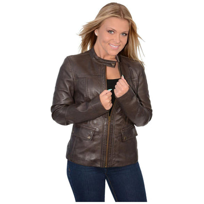 Milwaukee Leather SFL2825 Womens Snap Collar Brown Lambskin Leather Jacket