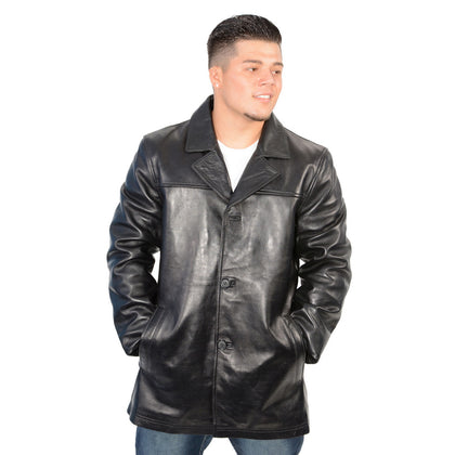 Milwaukee Leather SFM1815 Mens Black Leather Classic Four Button Front