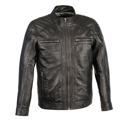 Milwaukee Leather SFM1860 Men's Black Leather Jacket with Front Zipper Closure