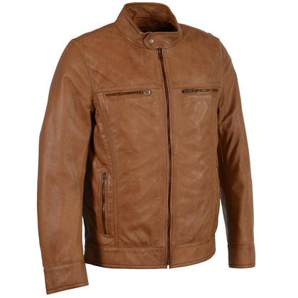 Milwaukee Leather SFM1865 Mens Saddle Classic Zipper Front Leather Jacket