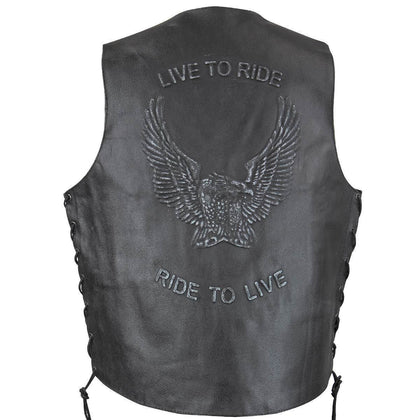 Genuine Leather SH1346 Men's 'Live to Ride, Ride to Live Eagle Emboss' Black Leather Vest