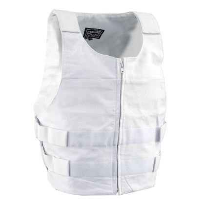 Genuine Leather SH1367ZW Men's 'Bullet Proof Replica' White Leather Vest