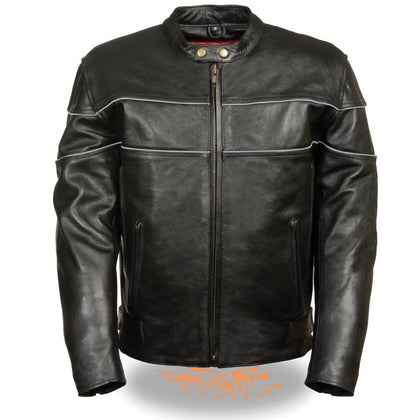 Milwaukee Leather LKM1785-Black Men's Side Stretch Leather Jacket with Reflective Piping and Gun Pocket