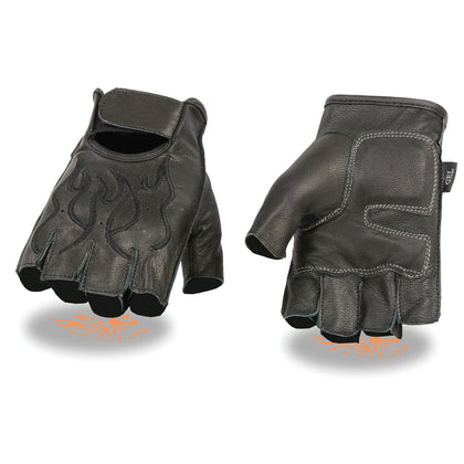 Milwaukee Leather SH198 Men's Black Flame Embroidered Fingerless Gloves with Gel Palm