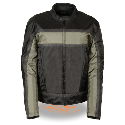 NexGen SH2095 Men's 'Racer' Black and Grey Reflective Textile Jacket