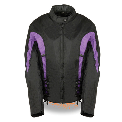 NexGen SH2188 Ladies Black and Purple Textile Jacket with Side Stretch and Lacing