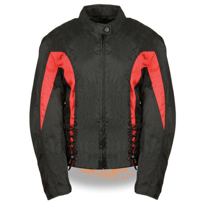 NexGen SH2188 Ladies Black and Red Textile Jacket with Side Stretch and Lacing