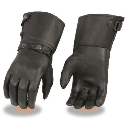 Milwaukee Leather SH264 Men's Black Leather Thermal Lined Gauntlet Gloves