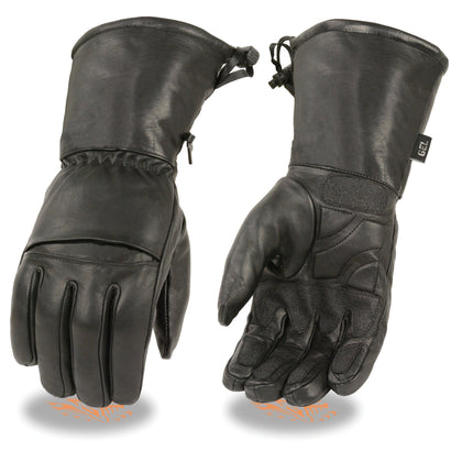 Milwaukee Leather SH292 Men's 'Flex Knuckles' Black Waterproof Leather Gauntlet Gloves