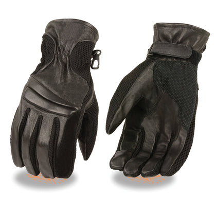 Milwaukee Leather SH296 Men's Black Summer Leather and Mesh Racing Gloves