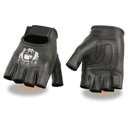 Milwaukee Leather SH351 Men's 'Flaming Skull' Black Leather Fingerless Gloves