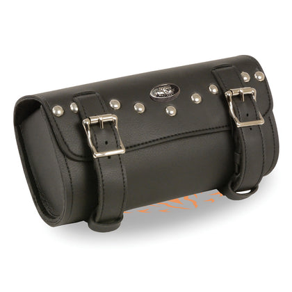 Milwaukee Leather Performance SH49701 Black Double Buckle Studded PVC Tool Bag with Quick Release