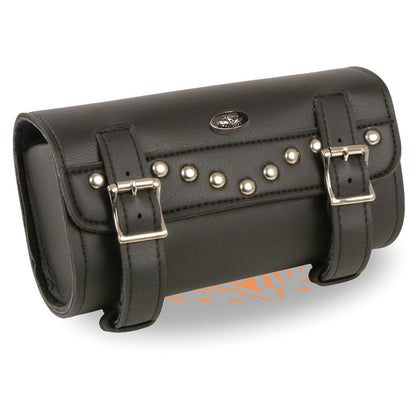 Milwaukee Leather Performance SH49801 Black Large Two Buckle Studded PVC Tool Bag with Quick Release