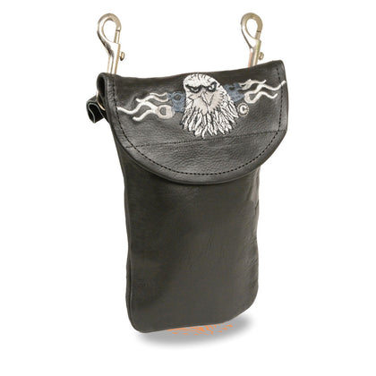 Milwaukee Leather SH506E Black Leather Belt Bag with Eagle Head and Double Clasp