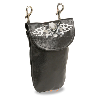 Milwaukee Leather SH506ES Black Leather Belt Bag with Rose and Flames and Double Clasps